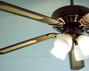 a Cropped Household Ceiling Fan.